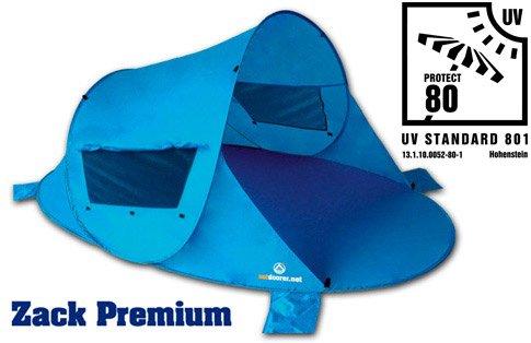 outdoorer Pop up Strandmuschel Zack Premium, UV 80, inkl. Sandheringe & 3 Fenster